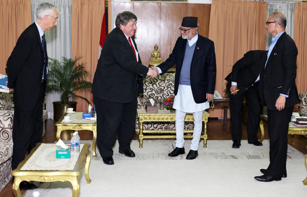 US Ambassador to Nepal Peter W Bodde shaking hands with Prime Minister Sushil Koirala during a meeting held at the latter's official residence, in Baluwatar, Kathmandu, on Monday. Photo:RSS