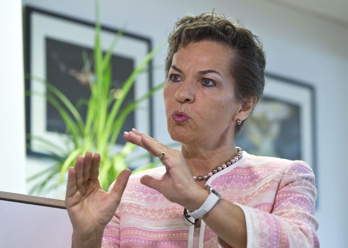 United Nations climate chief Christiana Figueres, gestures as she speaks during an interview of the Associated Press in Paris, France, Wednesday, July 22, 2015.  Photo: AP