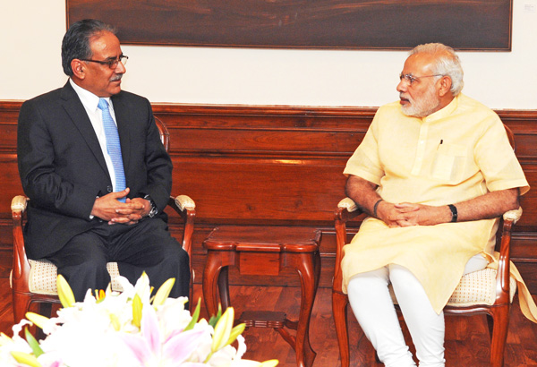 Unified CPN-Maoist Chairman Pushpa Kamal Dahal talking to Indian Prime Minister Narendra Modi, in New Delhi, on Friday. Photo: Courtesy PIB India
