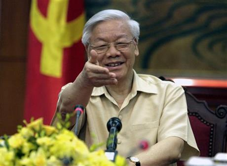 FILE - In this July 3, 2015 file photo, Vietnamese Communist Party General Secretary Nguyen Phu Trong gestures during a meeting with the Western press in Hanoi, Vietnam. Trong doesn't hold an official government post, but it's not surprising that heu2019ll meet with U.S. President Barack Obama on his visit to the United States.  AP