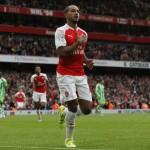 Arsenal's midfielder Theo Walcott celebrates scoring during a pre-season friendly match against Wolfsburg at The Emirates Stadium in north London on July 26, 2015. Photo:Reuter
