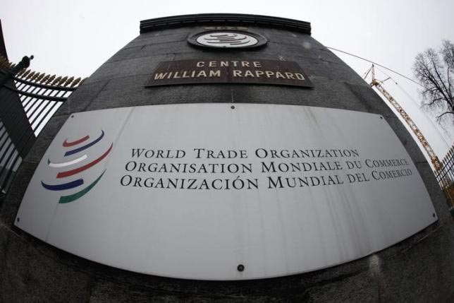 The World Trade Organization WTO logo is seen at the entrance of the WTO headquarters in Geneva April 9, 2013. Photo: Reuters