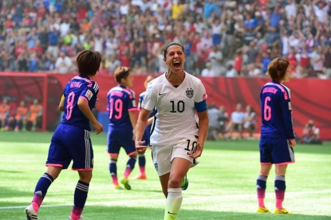 Jul 5, 2015; Vancouver, British Columbia, CAN; United States midfielder Carli Lloyd (10) reacts after kicking a goal against Japan in the first half of the final of the FIFA 2015 Women's World Cup at BC Place Stadium. Credit: Anne-Marie Sorvin-USA TODAY Sports