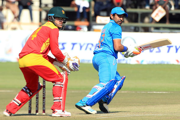 Indiau0092s Robin Uthappa plays a shot against Zimbabwe during their Twenty20 International match at the Harare Sports Club on Friday. Photo: AP