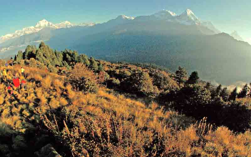 A file photo of trekkers watching the sun rise over the Annapurna Range, from Poon Hill, above the village of Ghorepani. Photo: THT