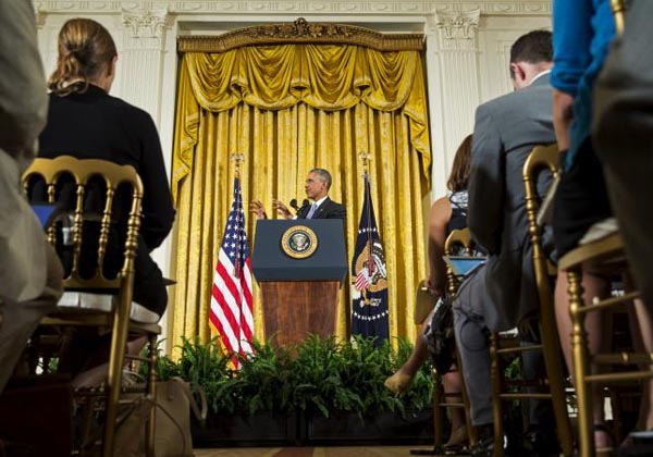U.S. President Barack Obama speaks during a news conference about the recent nuclear deal reached with Iran, in the East Room of the White House in Washington July 15, 2015. Photo: Reuters