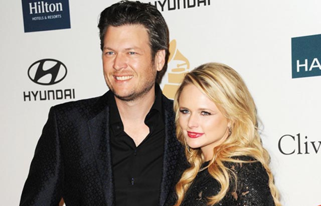 Singers Blake Shelton and Miranda Lambert arrive at Clive Davis and the Recording Academy's 2012 Pre-GRAMMY Gala and Salute to Industry Icons Honoring Richard Branson held at The Beverly Hilton Hotel on February 11, 2012 in Beverly Hills, California. Photo: www.justjared.com