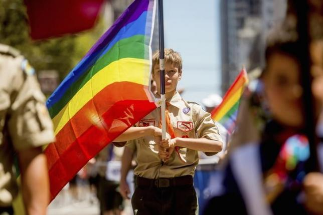 Boy Scout Casey Chambers carries a rainbow flag during the San Francisco Gay Pride Festival in California June 29, 2014. REUTERS/Noah Berger