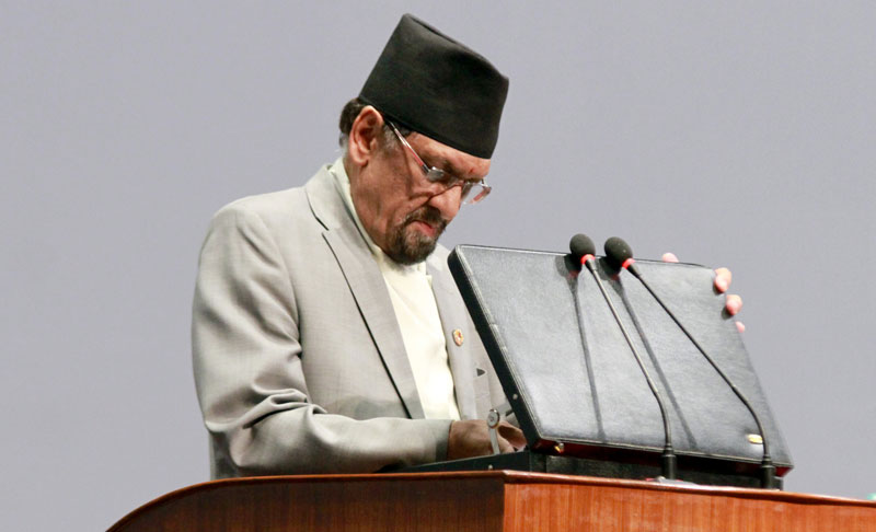 Finance Minister Ram Sharan Mahat presenting the budget speechu201a at the Parliament for the Fiscal Year 2015/16u201a in Kathmanduu201a on Tuesdayu201a July 14u201a 2015. Photo: RSS