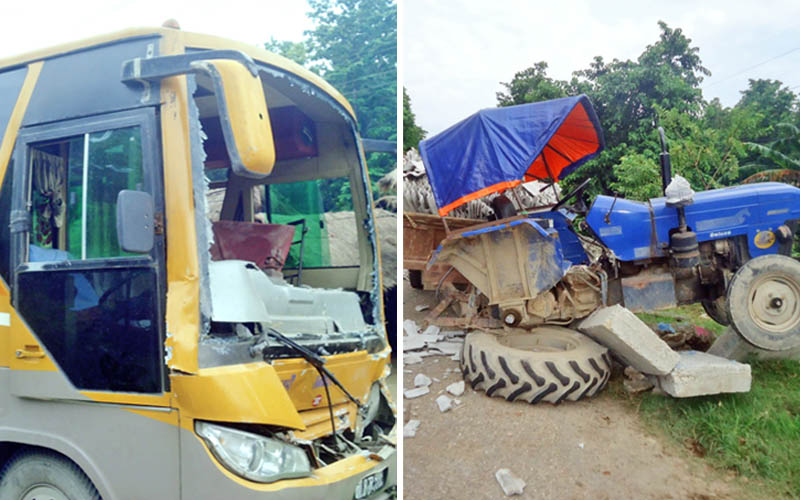 The passenger bus and tractor that collided in the Lamaha bridge along the East-West Highway located at Chandranigahapur in Rautahat on Friday, July 24, 2015. Photo: Prabhat Kumar Jha
