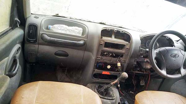 A car at the customs office with several parts missing, in Birgunj, on Friday. Photo: THT