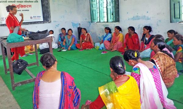 Women participants at an orientation programme organised to raise awareness about Chhaupadi, in Badaipur of Bhimdatta Municipality, Kanchanpur, on Monday. Photo: THT