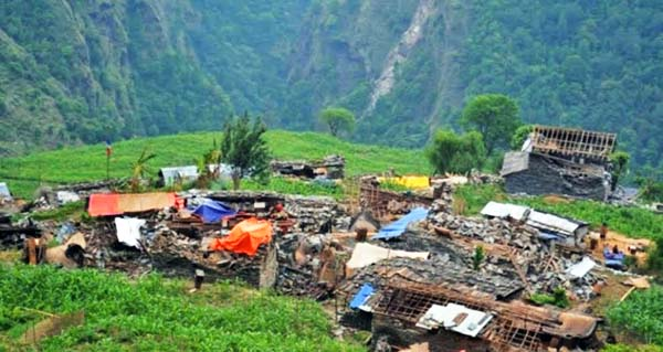 Kapur village in Lapa VDC hit by the April 25 earthquakes in northern part of Dhading, as pictured on Monday, July 13, 2015. Photo: Keshav Adhikari
