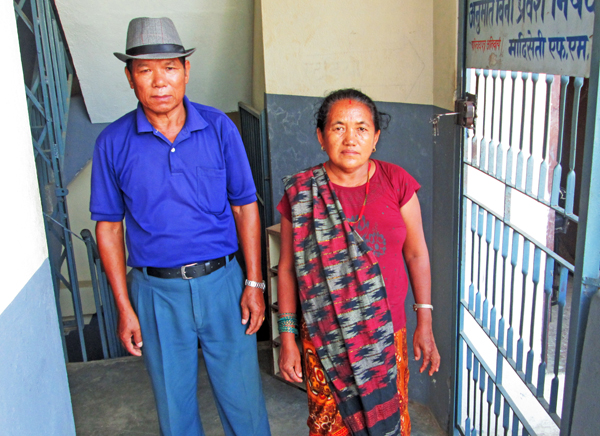 Tek Bahadur Gurung and his wife Lalumaya at an FM station to appeal for help in the search for their daughter-in-law, in  Damauli, Tanahun, on Thursday.  Photo: THT