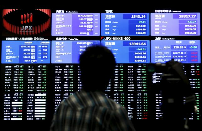 A videographer films an electronic board showing the Japan's Nikkei average (Top R) and related indexes at the Tokyo Stock Exchange (TSE) in Tokyo, Japan, July 9, 2015. REUTERS/Yuya Shino