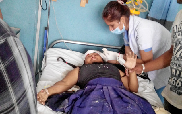 An injured girl receiving treatment after a landslide hit a school, in Gandaki Medical College, in Pokhara, on Thursday. Photo: THT