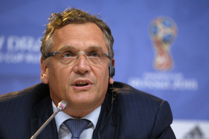 FIFA Secretary General Jerome Valcke attends a press conference in St Petersburg on Friday. Photo: AP