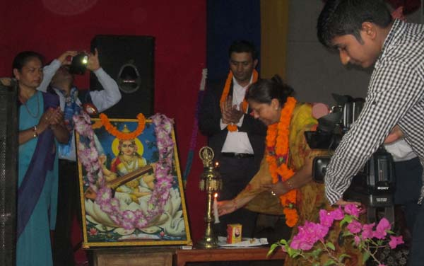 Minister for Education Chitralekha Yadav inaugurating a programme to declare Kaski a ncompletely literate district, in Pokhara, on Wednesday. Photo: THT