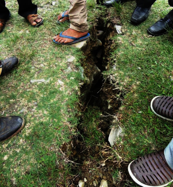 A crack that has developed at Pokharichauri VDC in Kavre on Friday. Authorities are planning to relocate villages in the district. Photo: THT