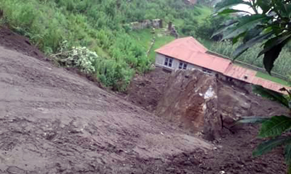 A view of Maping village, which is at risk of landslide, in Bhoje VDC, Lamjung, on Monday. nPhoto: THT