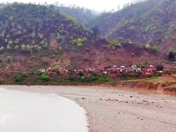 A view of Barpata VDC, that is at a higher risk of inundation due to the Seti River, in Doti, on Tuesday, July 14, 2015. Photo: Tekendra Deuba