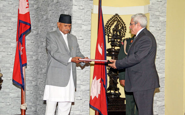 President Ram Baran Yadav receiving the letter of credence from Hassan Mahmoud Al Jawarmeh Hashemite, Jordan's non-resident ambassador to Nepal, during a special function at the Office of the President, in Shital Niwas, in Kathmandu, on Thursday. Photo: RSS