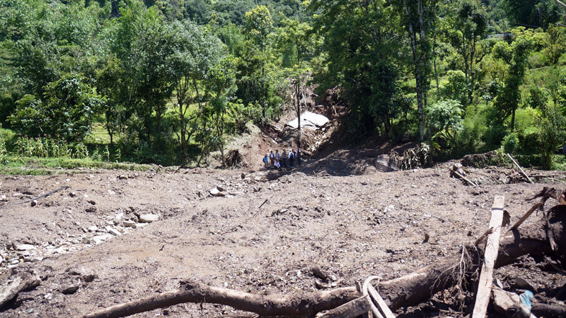 The starting point of a landslide that hit the Lumle village of Kaski district, near Pokhara on July 30, 2015, as captured on Friday, July 31, 2015. Photo: Bharat Koirala