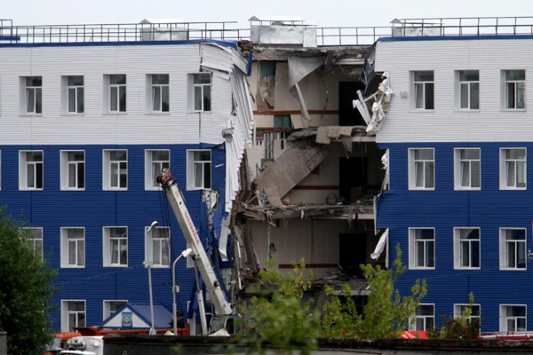 A general view of a military barracks with a collapsed wall in Omsk, on Monday. Photo: Reuters