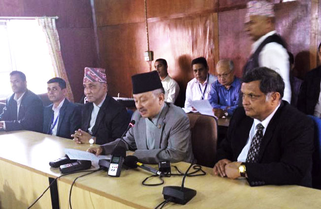 Constituent Assembly Chairman Subas Chandra Nembang speaks at a press conference organised by the CA Secretariat in Kathmandu, on Thursday, July 9, 2015. Photo: CA Secretariat