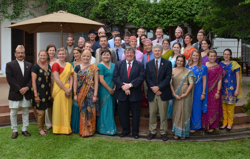 Peace Corps volunteers pose for a photograph after being sworn in, in Kathmandu, on Friday, July 10, 2015. Photo: US Embassy in Kathmandu