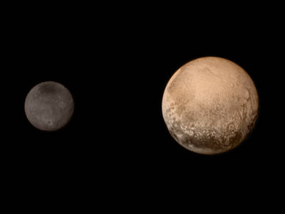 A image file of Pluto with its moon Charon taken by New Horizon in its visit to the smallest planet of the Solar System. Courtesy: NASA
