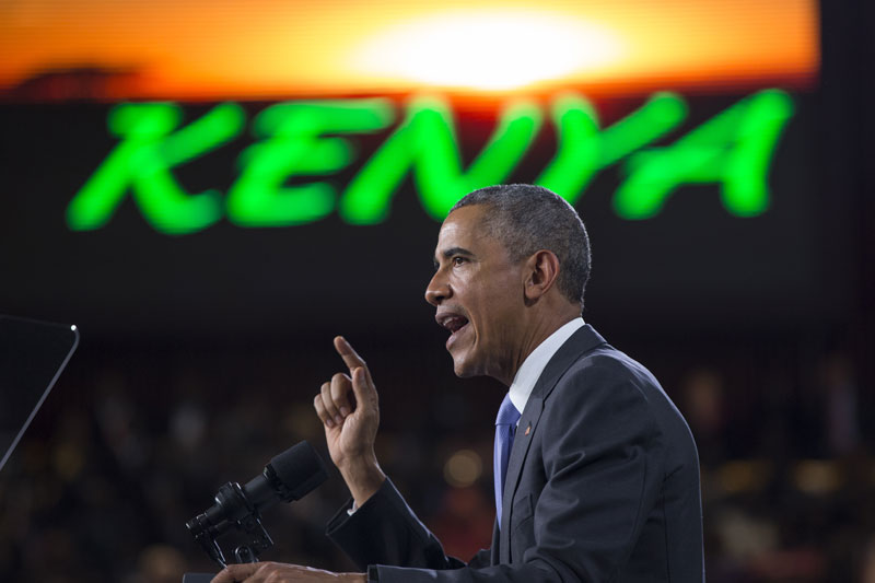 President Barack Obama delivers a speech at Safaricom Indoor Arena, Sunday, July 26, 2015, in Nairobi. On the final day of his visit in Kenya, Obama laid out his vision for Kenya's future, and broad themes of US-Kenya relations. Photo: AP
