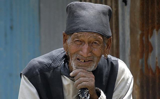 An old man posing for a THT lensman in Khokana, Lalitpur,  on Thursday. Photo: THT