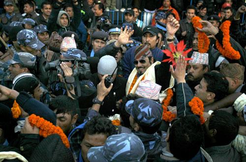 Former crown prince Paras Shah being greeted by his well wishers after arriving from Pokhara at Tribhuvan International Airport in Kathmandu on Friday, December 17, 2010. THT file photo.