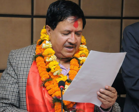 The then newly elected FNCCI President Preed Jung Pandey taking oath of his office and secrecy on April 13, 2015. Photo: FNCCI