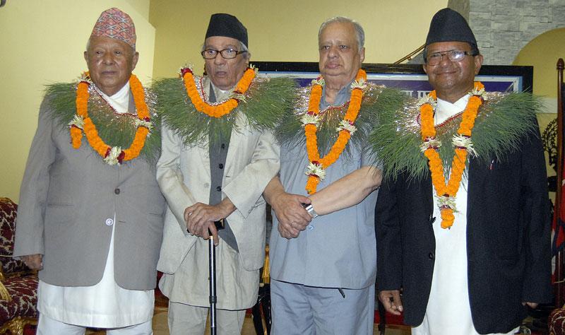 From Lto R: Bhairav Bahadur Thapa, Hari Prasad Rimal, Chandra Raj Sharma, Nhuchhe Bahadur Dangol. Photo: THT