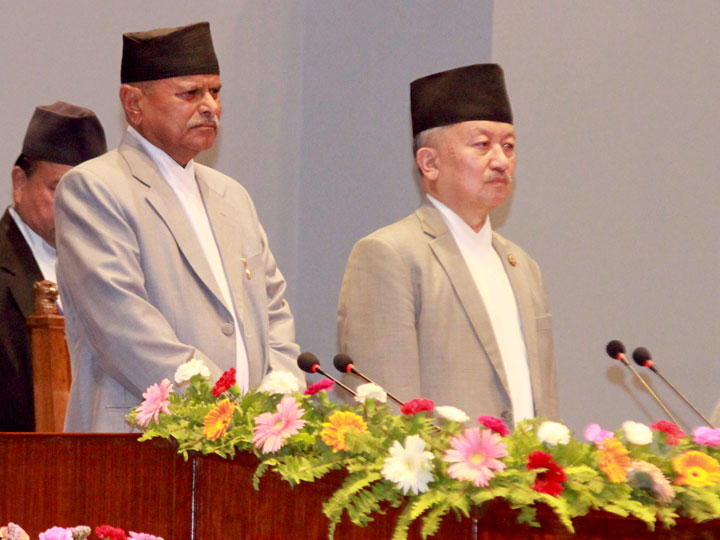 President Ram Baran Yadav and Speaker Subas Chandra Nembang stand at attention while the national anthem is played before the President presents the government's annual policy and programmes at the Parliament, on Wednesday, July 8, 2015. Photo: RSS