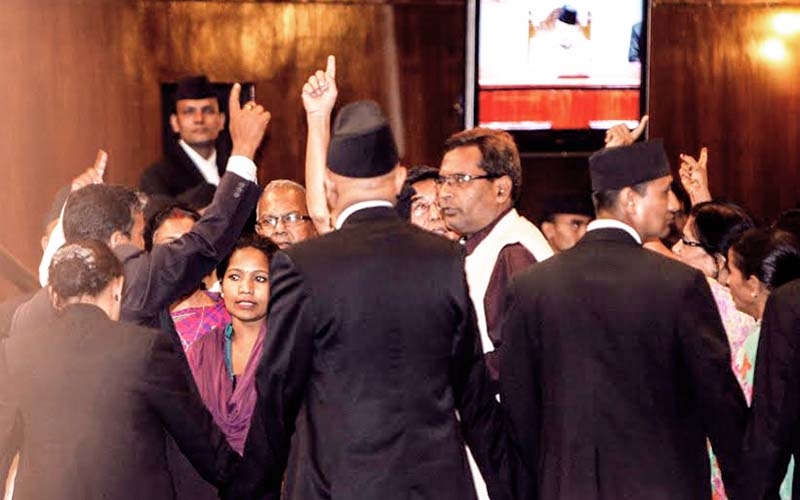 Constituent Assembly members of the Madhesi Janaadhikar Forum-Democratic staging a protest in the CA Hall, New Baneshwor, Kathmandu, on Tuesday. Photo: THT