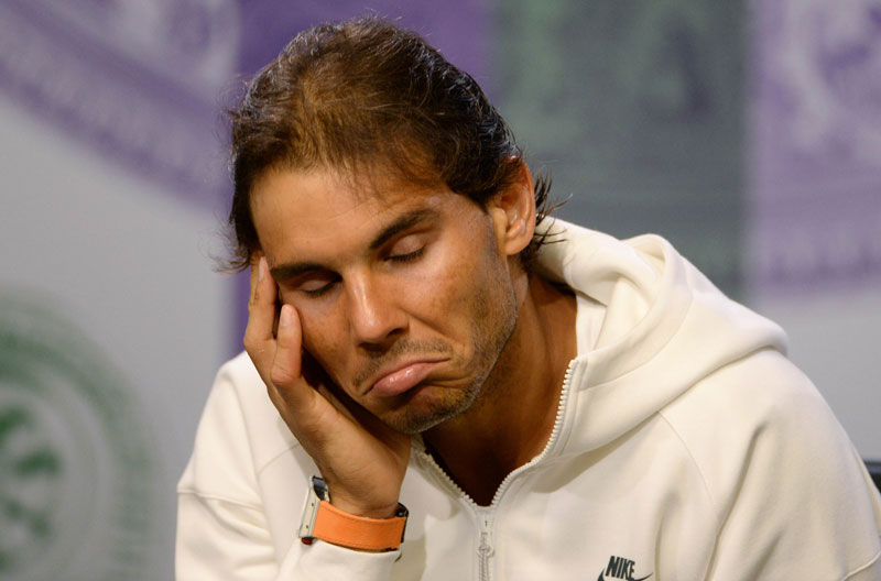 pain's Rafael Nadal attends a press conference after being knocked out in the second round of the men's singles competition on day four of the 2015 Wimbledon Championships at The All England Tennis Club in Wimbledon, southwest London, on July 2, 2015. Photo: AFP