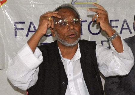 Sadbhawana Party Chairman Rajendra Mahato at the Reporters' Club on Sunday, July 5, 2015. Photo: Reporters' Club