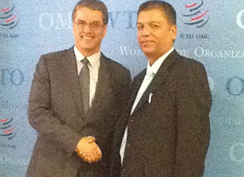 Nepal's Commerce Secretary Naindra Prasad Upadhyaya (right) with WTO Director General, Roberto Azevedo at the latter's office in Geneva on Mondaym June 29. 2015. Courtesy: Permanent Mission of Nepal to the UN in Geneva