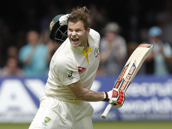 Australiau0092s Steven Smith celebrates after scoring a double century against England on the second day of their second Ashes Test match at Lord's in London on Friday.