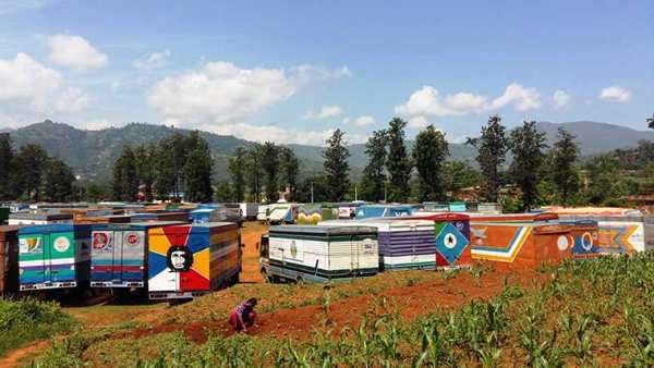 Container vans from Khasa parked at Panchkhal Municipality in Kavre on Sunday. Customs will now have to be cleared at Tribhuvan International Airport Customs Office after Tatopani Customs in Sindhupalchowk was closed due to frequent earthquakes. Photo: THT