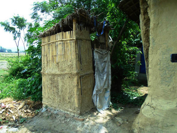A newly built toilet in Malhanma VDC after Saptari district was declared open defecation free zone, on Thursday. Photo: THT