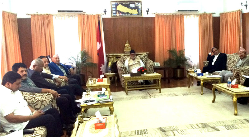 Top leaders of major political parties holding a meeting with Chief Justice Kalyan Shrestha, at the Prime Minister's residence, Baluwatar, on Wednesday, July 29, 2015. Photo: PM's Secretariat