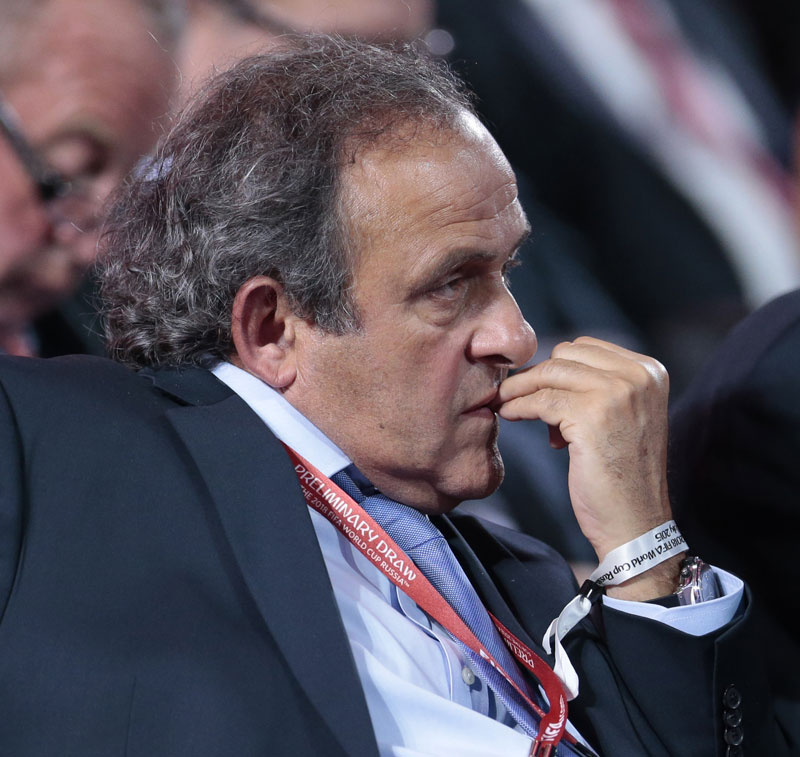 UEFA President Michel Platini watches the preliminary draw for the 2018 soccer World Cup in Konstantin Palace in St. Petersburg, Russia, Saturday, July 25, 2015. Photo: AP