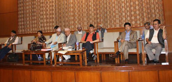 CPN-UML top leaders at a meeting of the parliamentary party at the Constituent Assembly building in Kathmandu, on Wednesday, July 15, 2015. Photo: KP Sharma Oli Twitter