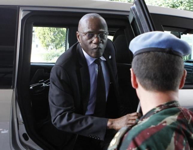 Military Adviser for the UN Department of Peacekeeping Operations Lieutenant General Babacar Gaye arrives at a hotel in Damascus May 18, 2012. REUTERS/Khaled al-Hariri