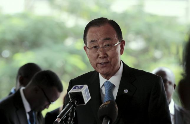 UN Secretary General Ban Ki-moon, speaks during an event marking 4th anniversary of the bombing of the Abuja United Nations building by Boko Haram members in Abuja, Nigeria, August 24, 2015. Photo: Reuters