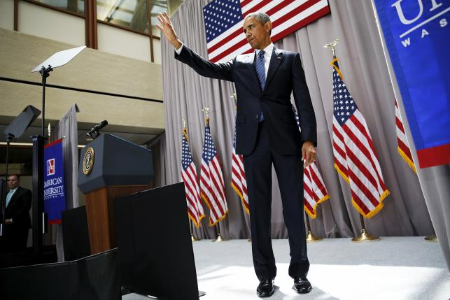 U.S. President Barack Obama departs at the end of his remarks on the nuclear deal with Iran at American University in Washington August 5, 2015. REUTERS/Jonathan Ernst?